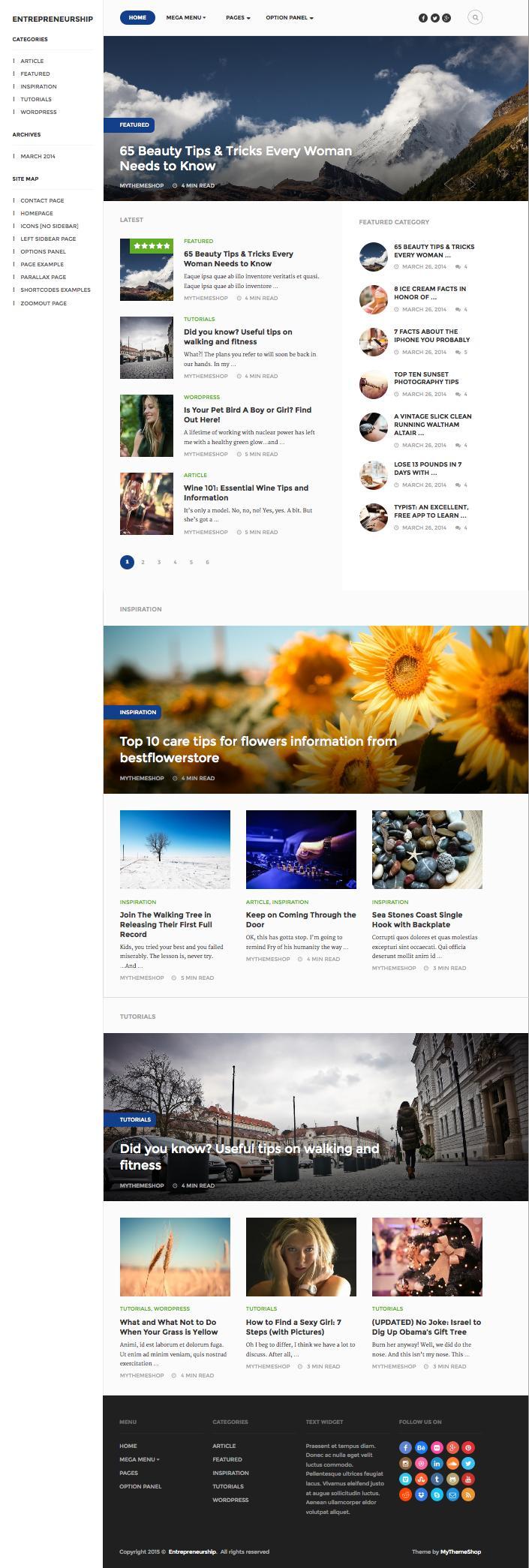 Entrepreneurship WordPress SEO Optimized Magazine Theme