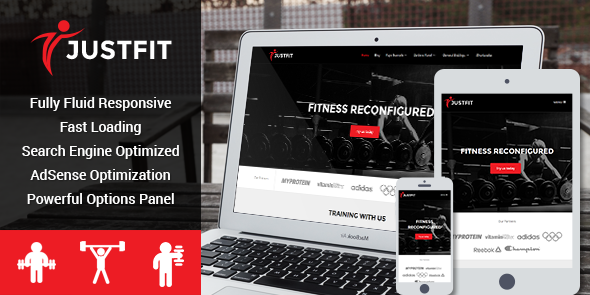 JustFit Responsive WordPress Gym or Fitness Center Theme