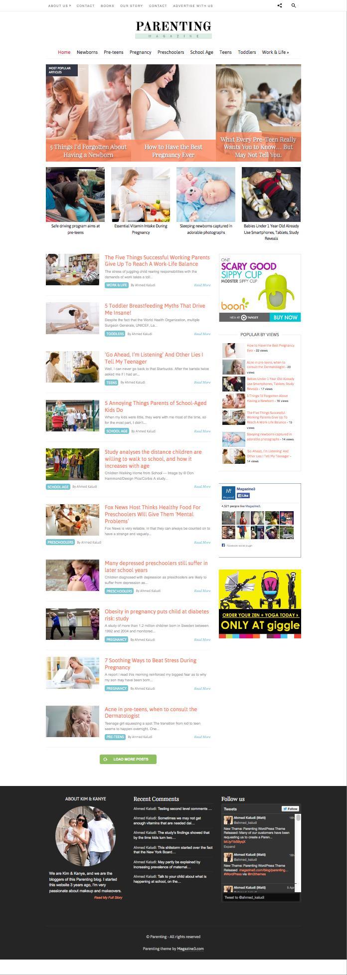 Parenting WordPress Childcare Magazine Blogs Theme