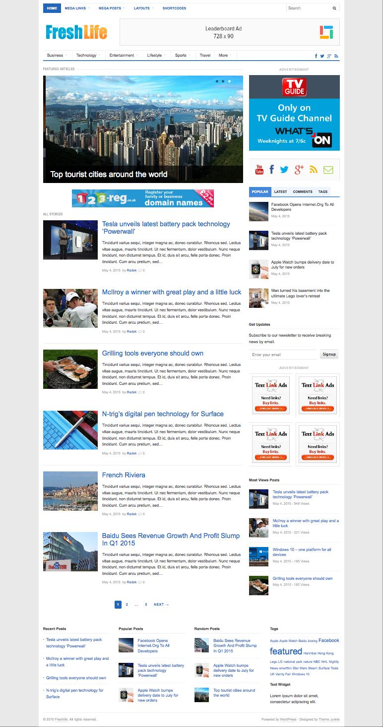 FreshLife 3.0 WordPress Newspaper Blog Theme