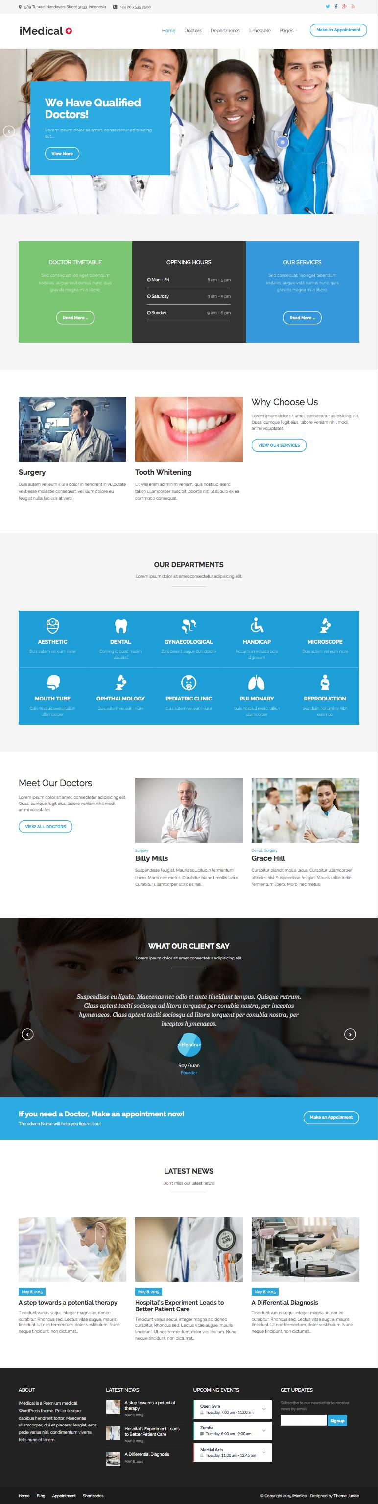 iMedical WordPress Theme for Dentists, Doctors & Health Care