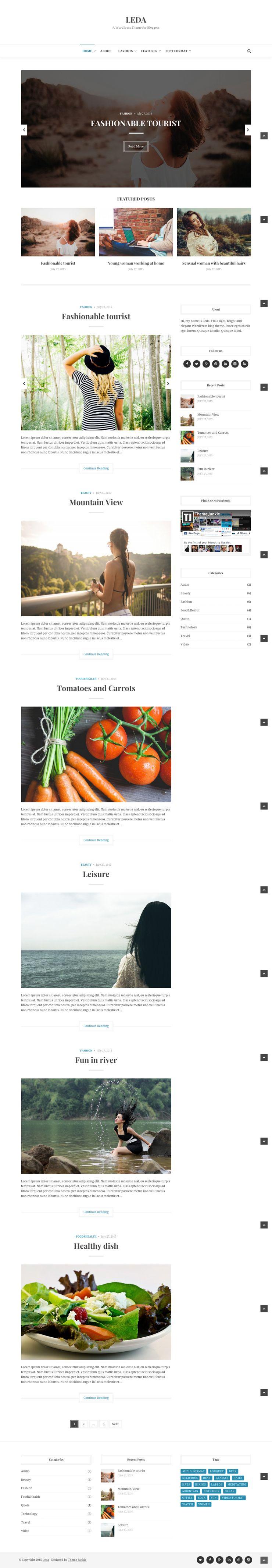Leda WordPress Minimalist Bloggers Theme