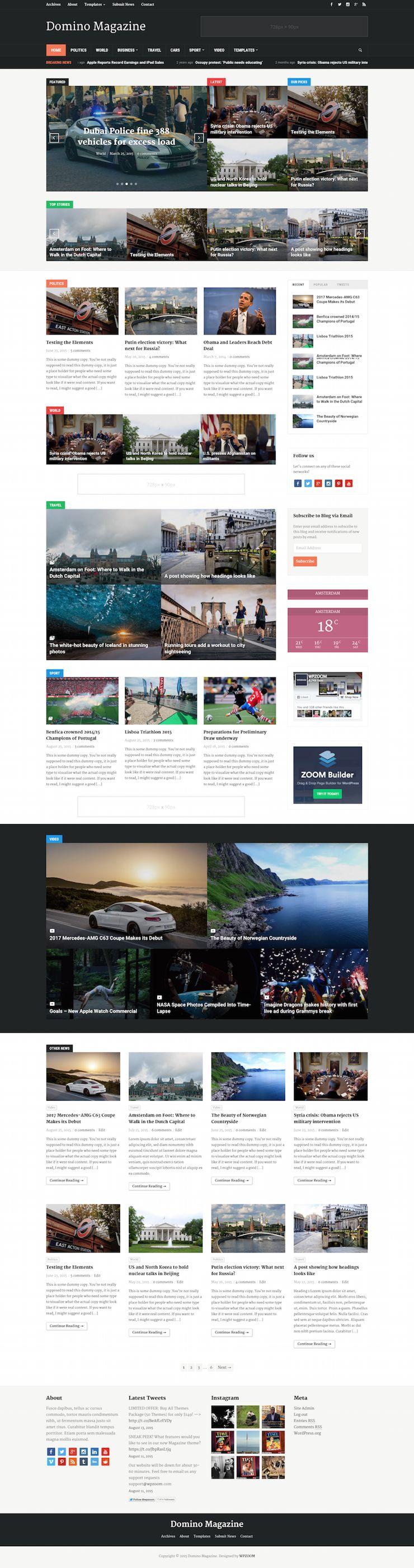 Domino Magazine WordPress Dynamic Homepage Theme