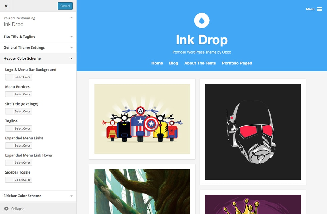 Ink Drop WordPress Portfolio Theme