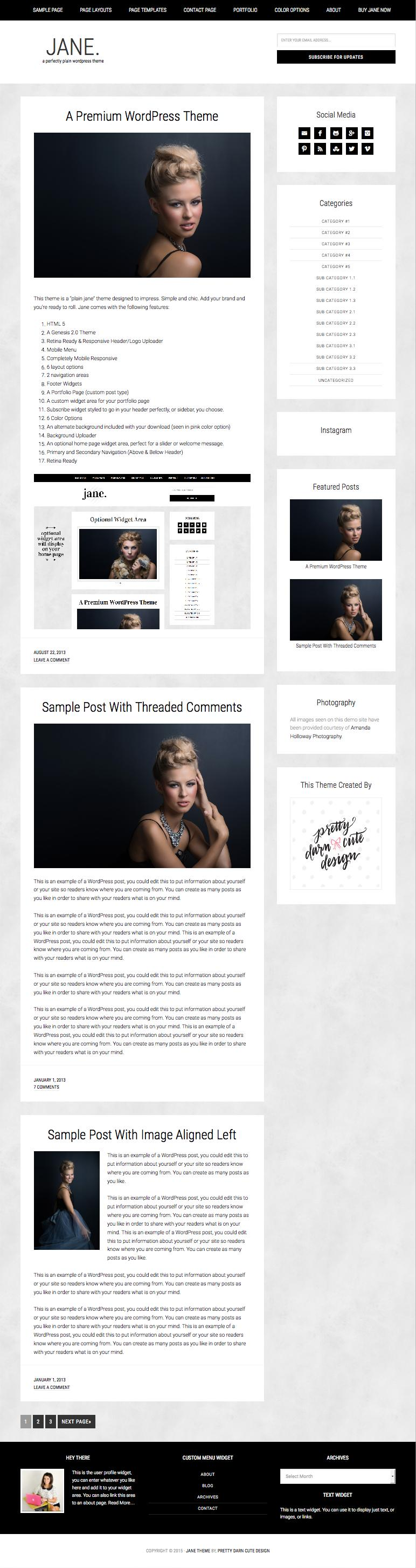 Jane WordPress Feminine Blog Theme