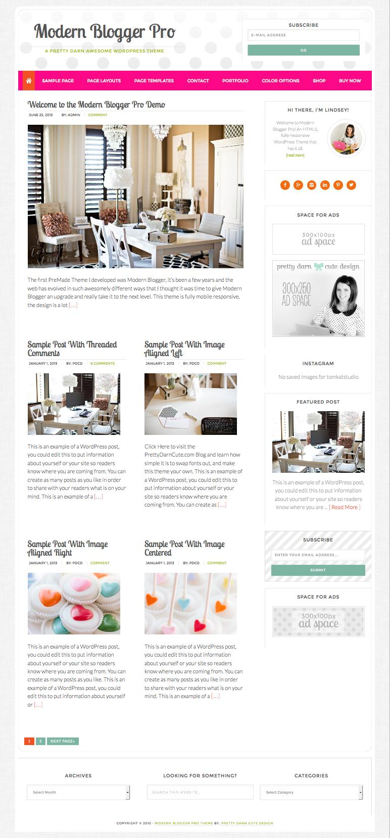 Modern Blogger Pro WordPress Feminine Blog Theme