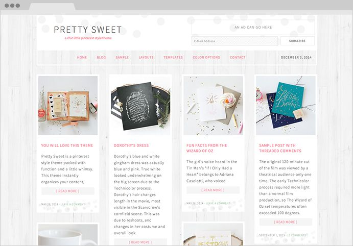 Pretty Sweet WordPress Pinterest.com Theme
