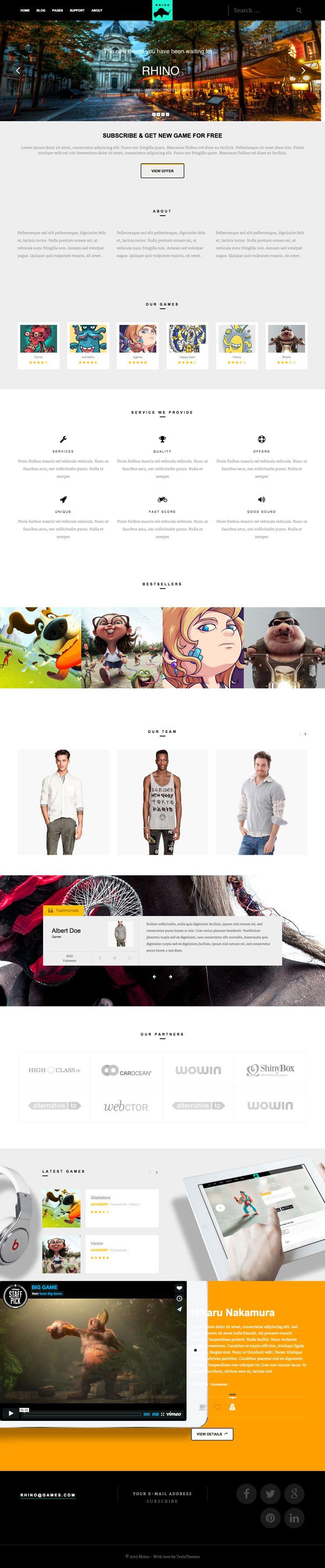 Rhino WordPress Gaming Discussion Blog Theme