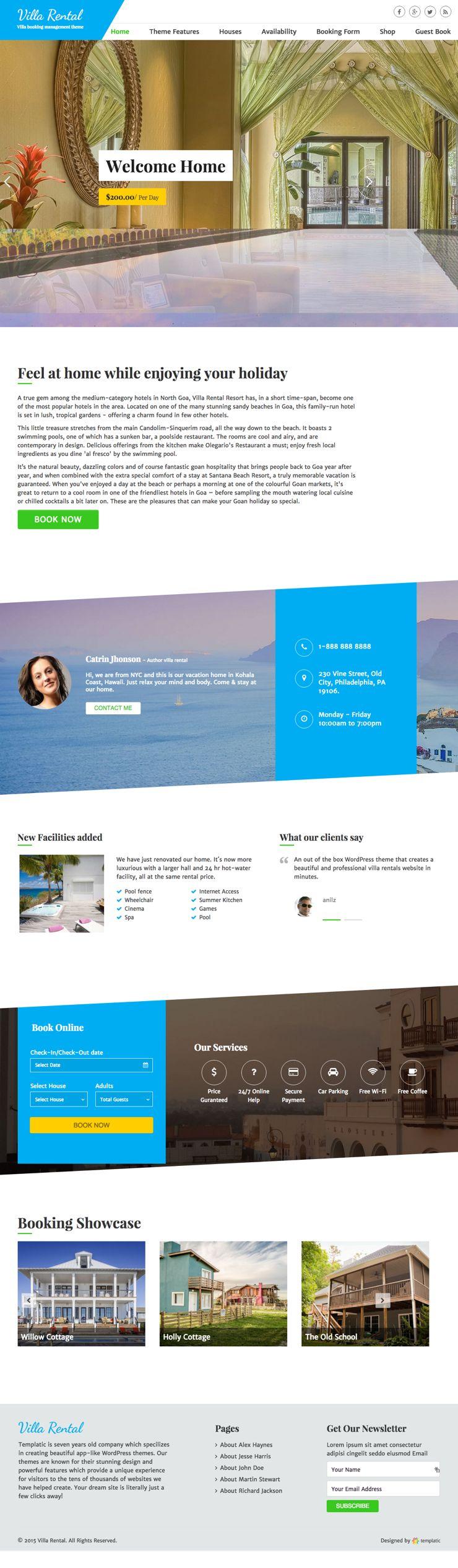 Villa Rental WordPress Lodge Booking Theme