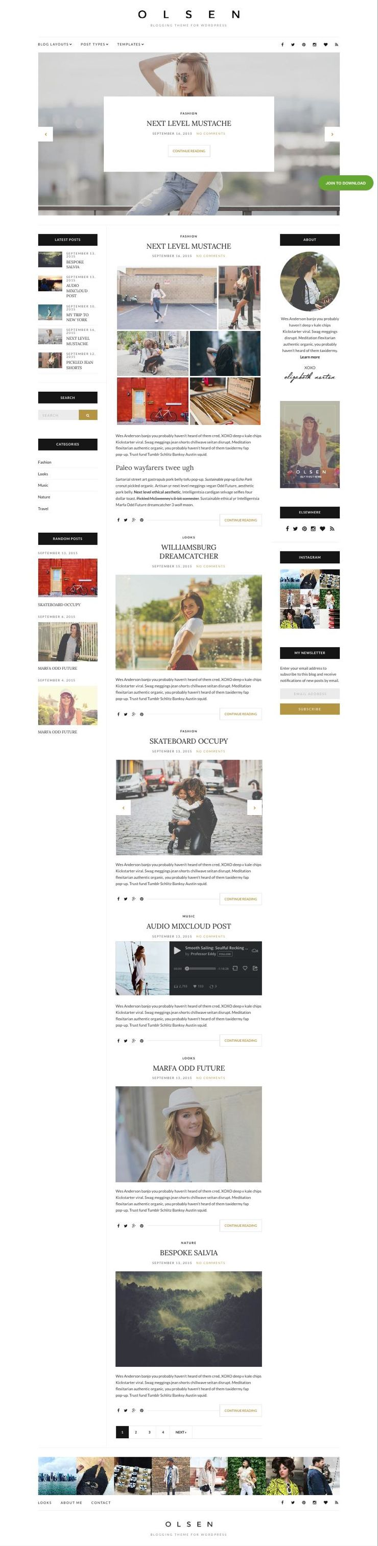 Olsen WordPress Lifestyle Blogs Theme