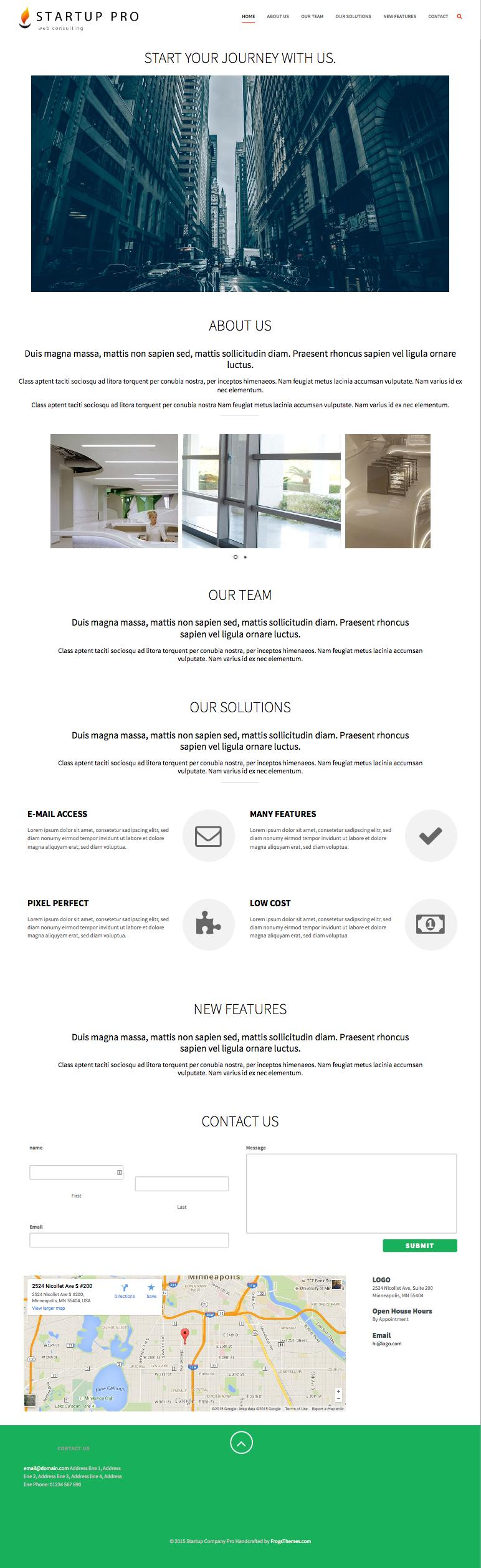 Startup Company Pro WordPress One Page Theme