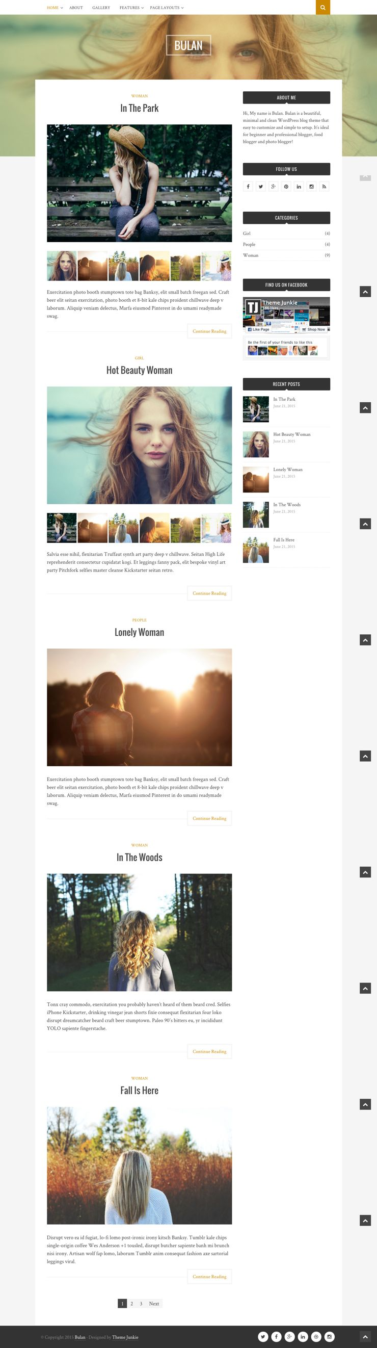 Bulan Free WordPress Minimal & Clean Blog Theme