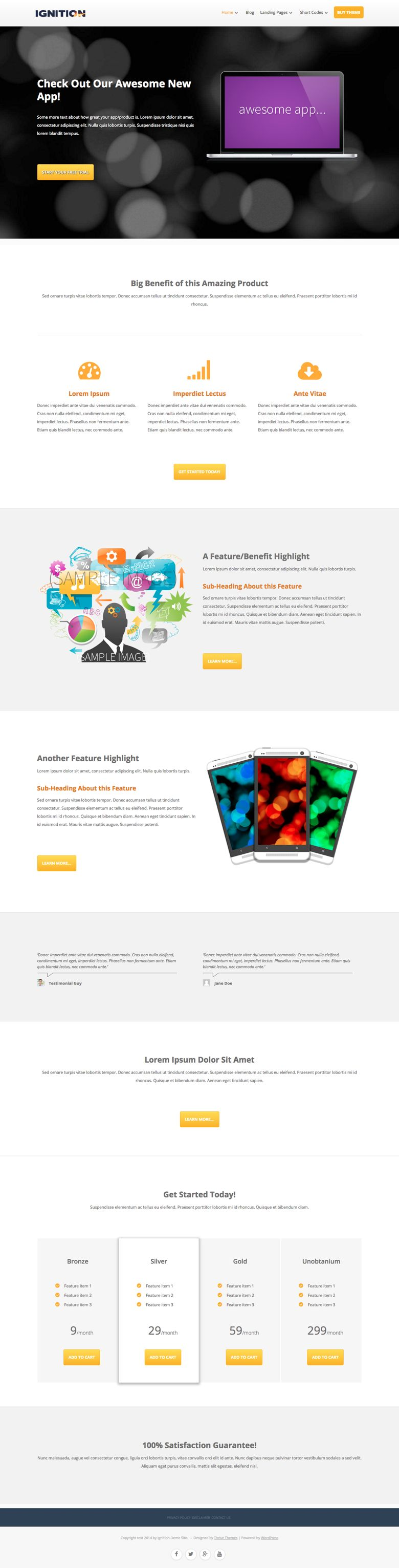 Ignition WordPress Product Marketing Page Theme
