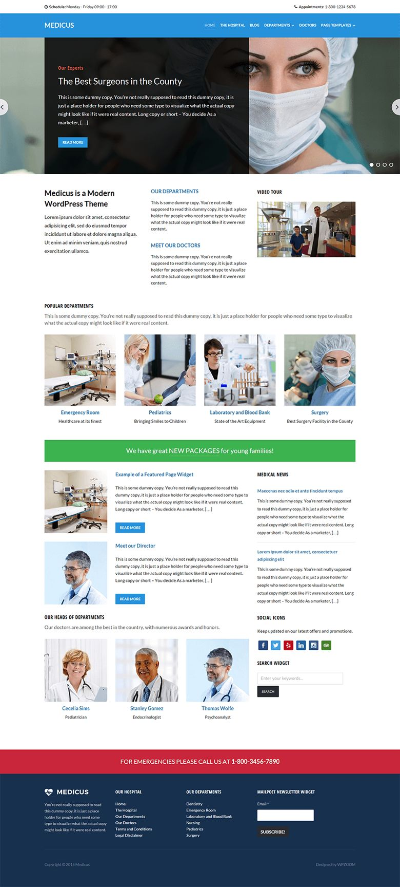 Medicus WordPress Clinics & Doctors Theme