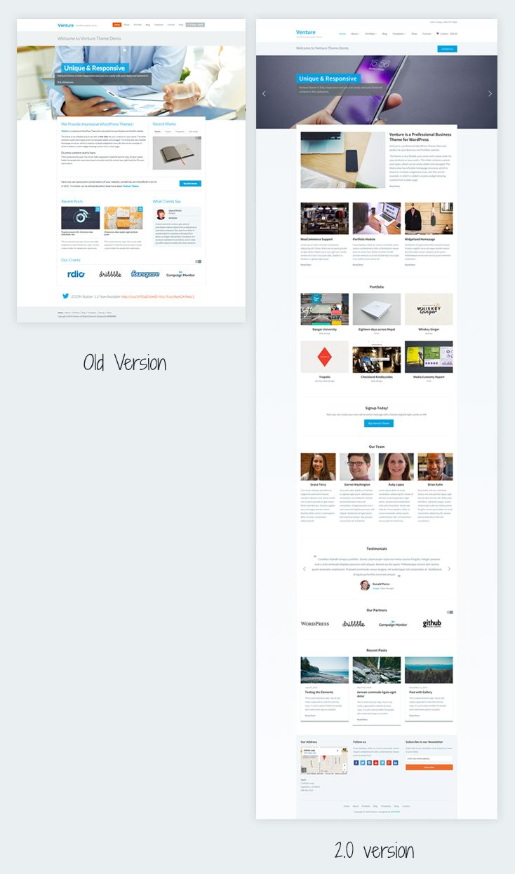 Venture WordPress Old & New Version Theme