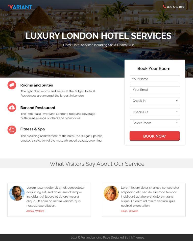 WordPress Hotel Booking Landing Page Theme