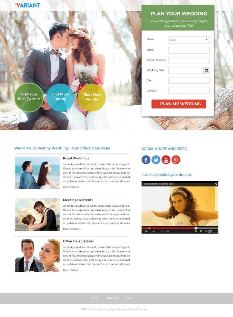 WordPress Wedding Planner Landing Page Theme