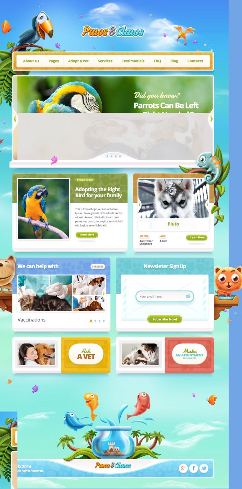 Paws & Claws WordPress Veterinary Clinics Theme