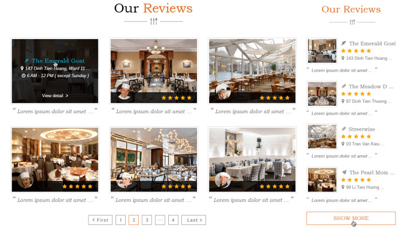 Searching Restaurant Listing in DiningEngine Theme