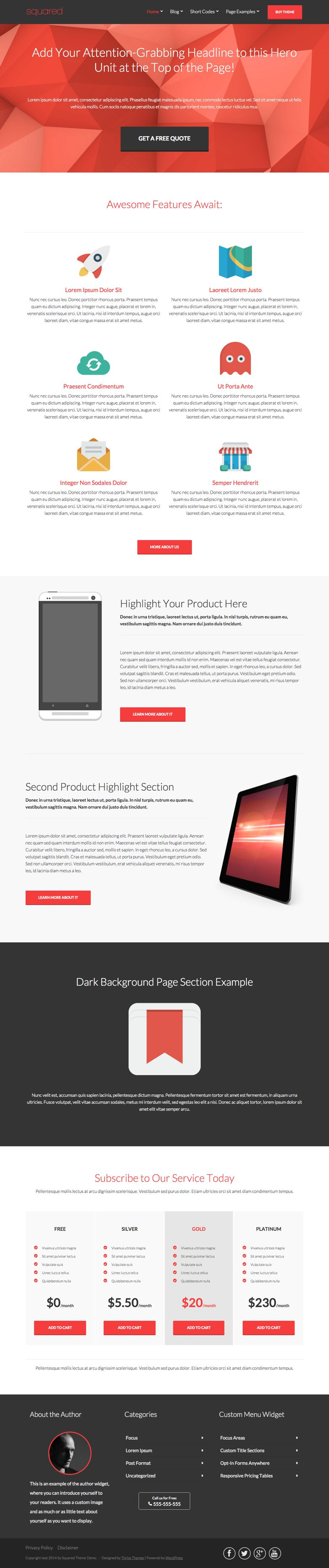 Squared WordPress Product Marketing Theme