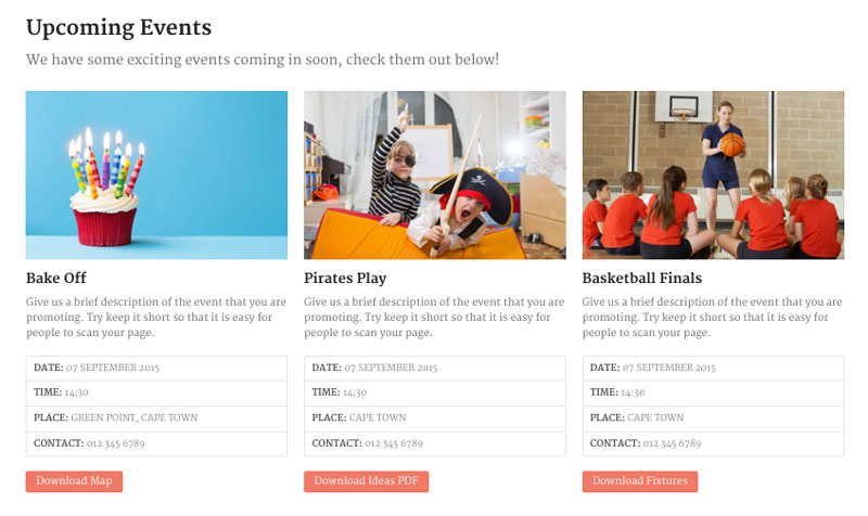 Upcoming Events Page on Classroom WordPress Theme