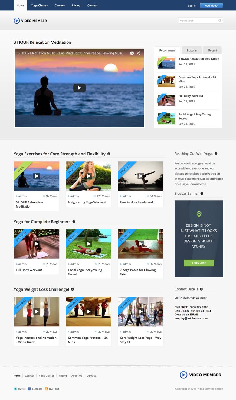 Video Member WordPress Yoga Training Video Theme