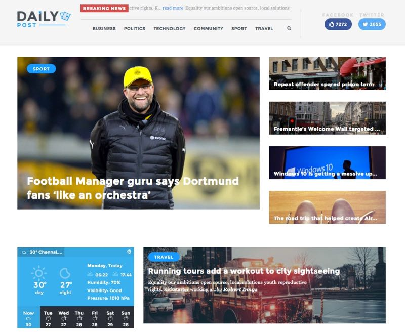 Daily Post WordPress Theme – Homepage Layout 3