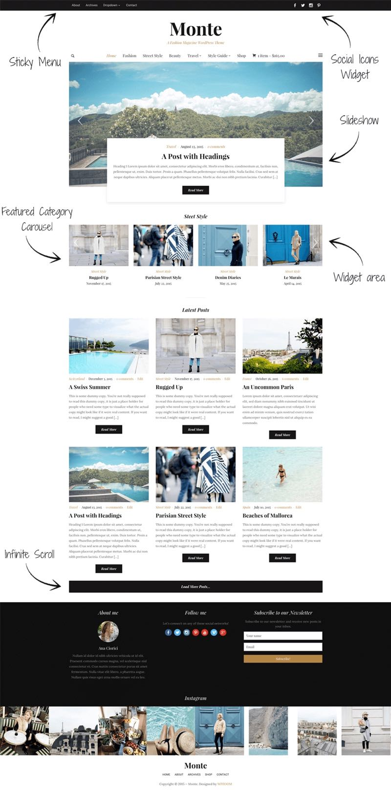 Drag and Drag Widgetized Homepage of Monte WordPress Theme