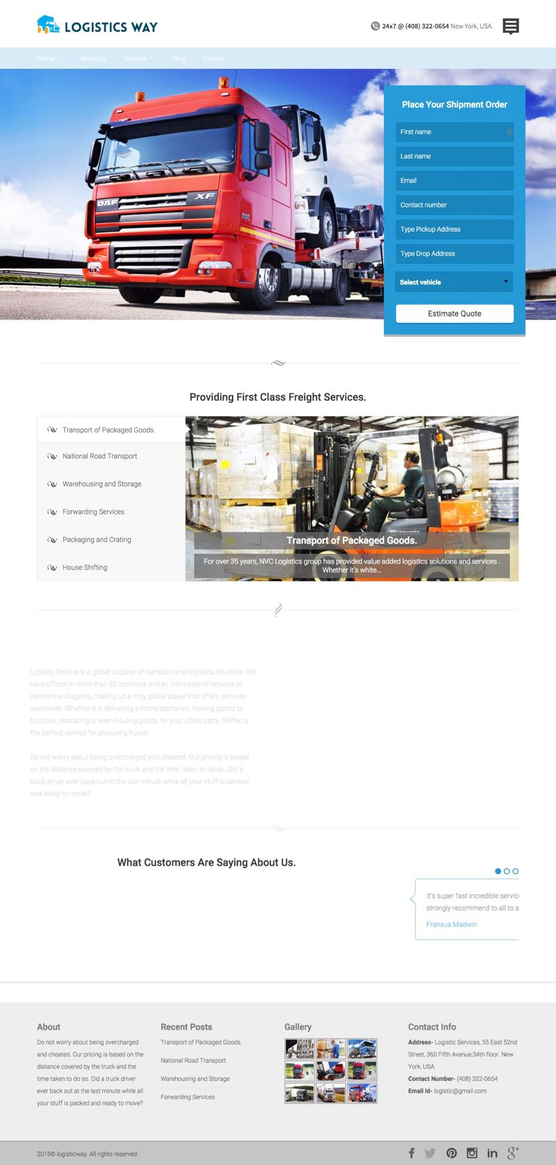 Logistics Way WordPress Goods Forwarding Theme