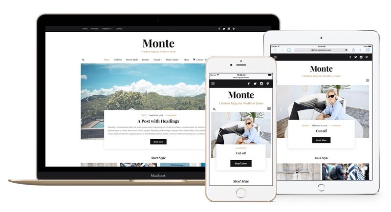Responsive Layout of Monte Theme
