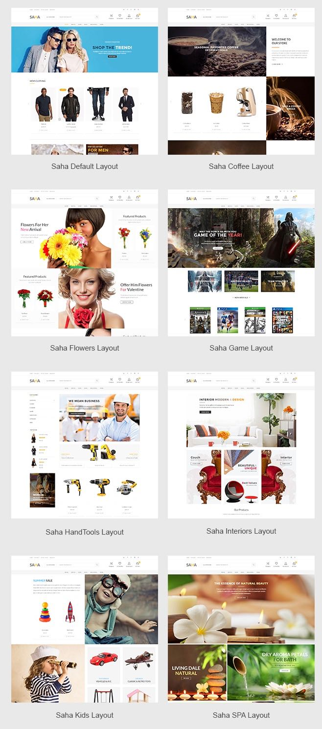 Saha WordPress Theme 8 Pre-defined Homepage Layouts