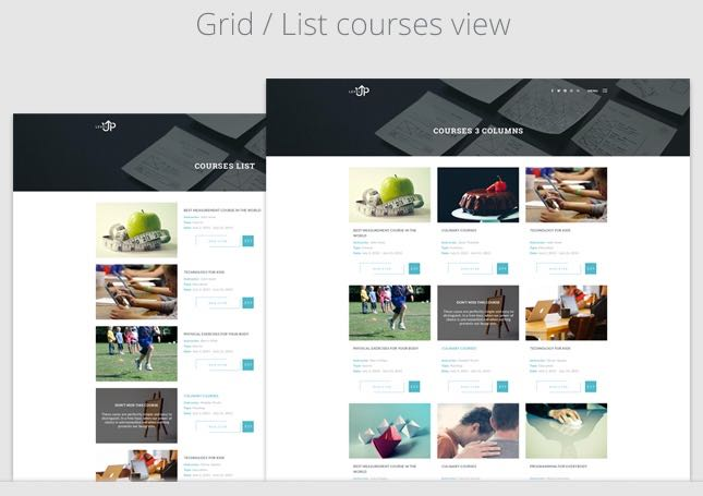 Showcase Courses in Gird : List View