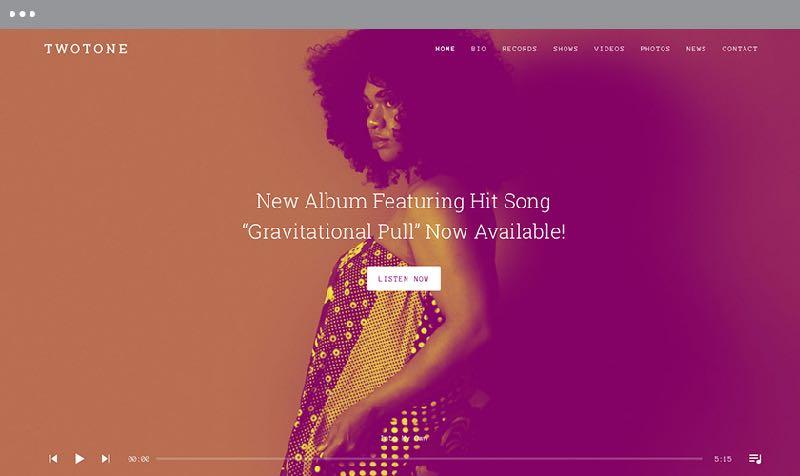 Twotone WordPress Music or Band Theme
