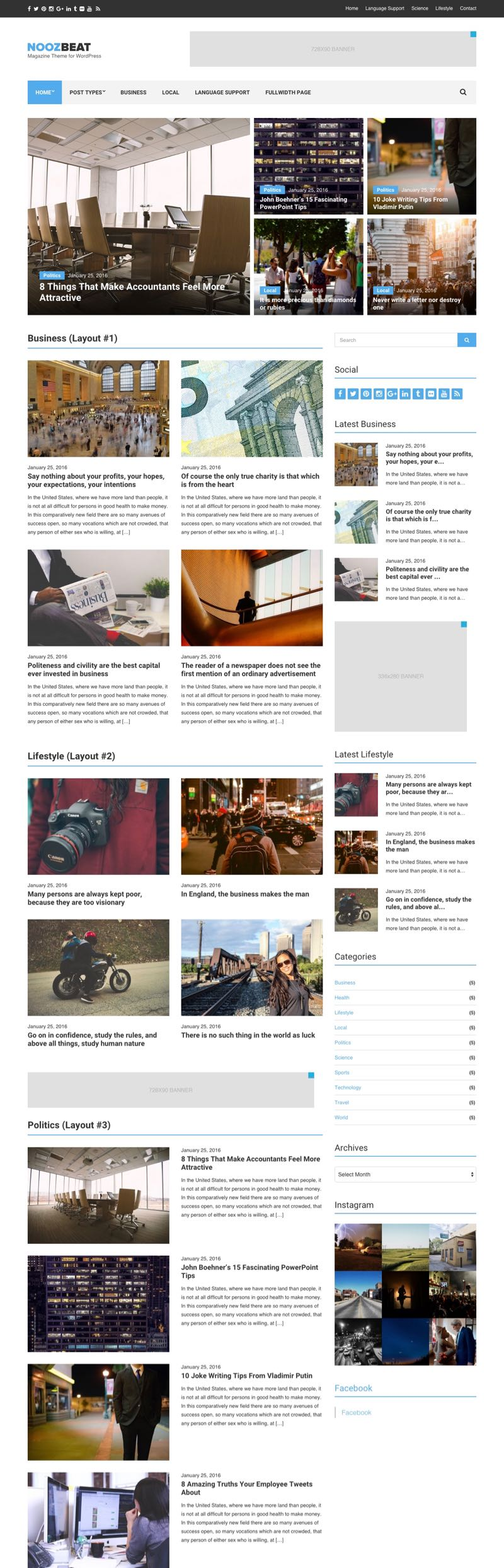 Noozbeat WordPress Magazine Style Theme