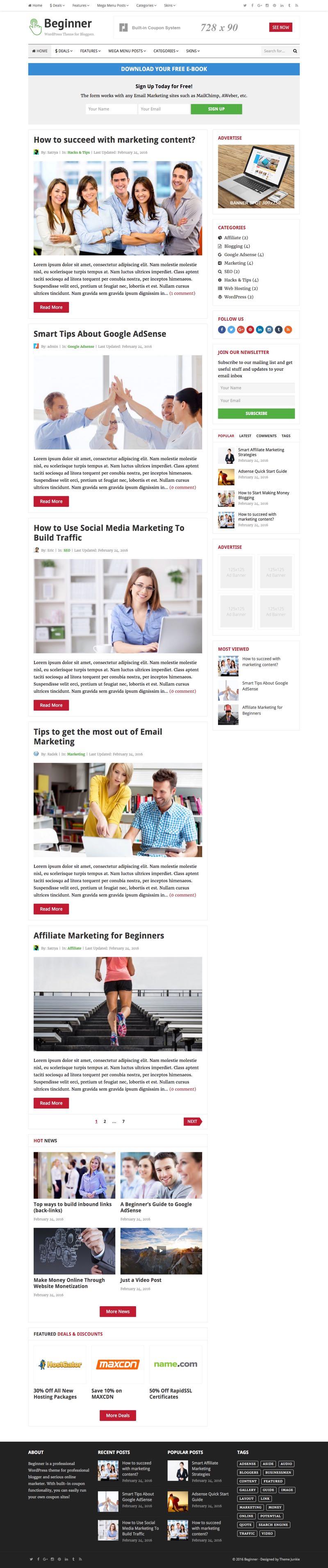 Beginner WordPress Affiliate Marketer Theme