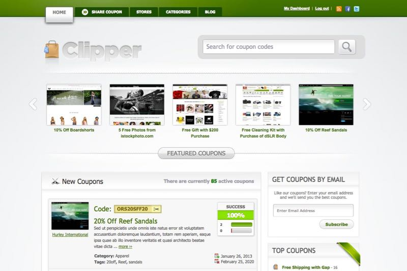 Create a coupon deals website with clipper wordpress theme for Making wordpress templates
