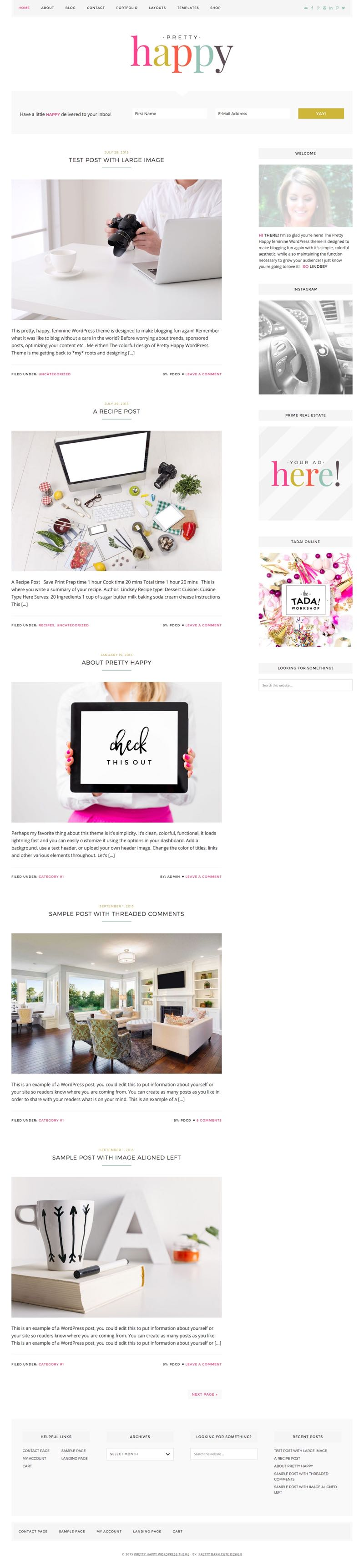 Pretty Happy WordPress Feminine E-Commerce Theme
