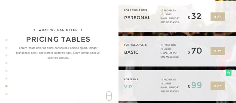 Duality Theme - Pricing Table in Split Screen
