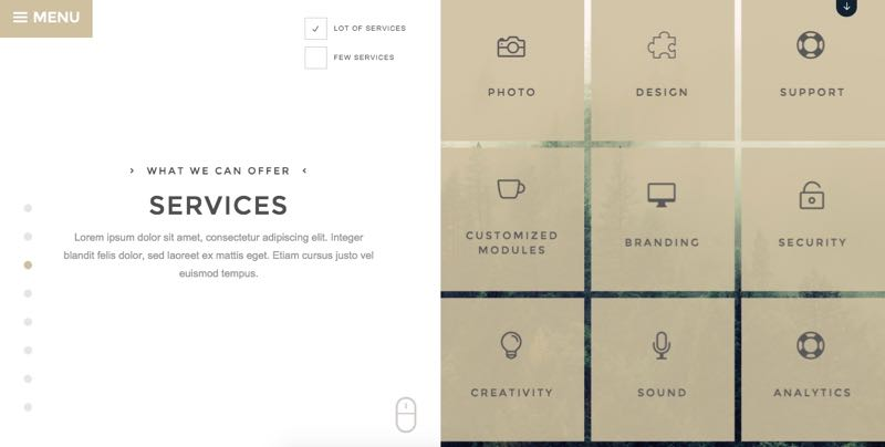 Duality Theme - Service Section in Split Screen