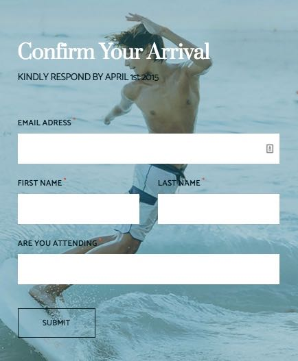 Hitched WordPress Theme - Confirm Arrival Form