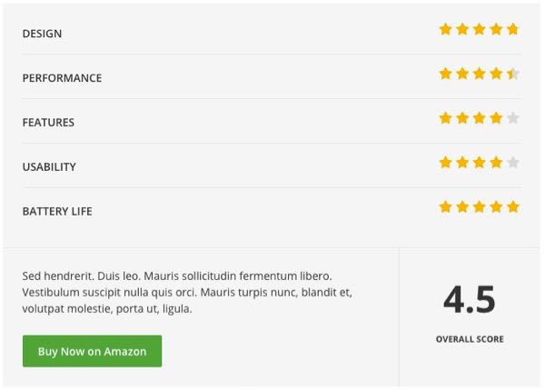 Review and Rating in Stars Functionality