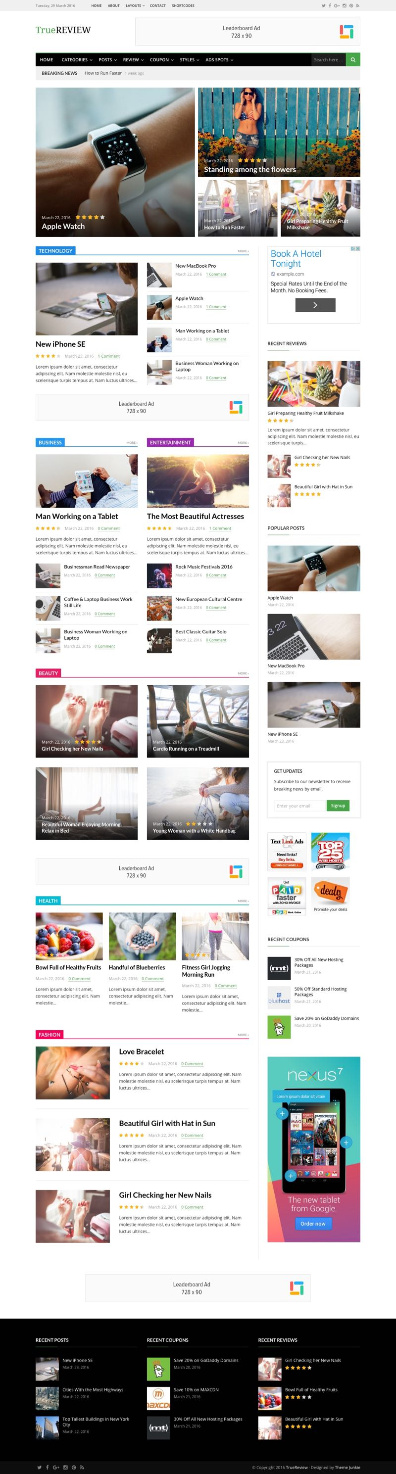TrueReview WordPress Editorial Reviews Theme