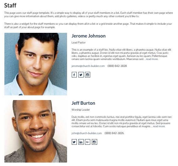 Church Builder Theme - Staff Page