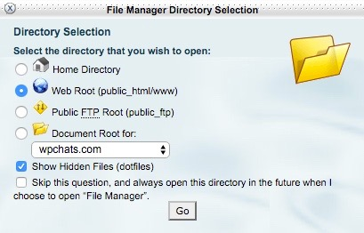 File Manager Directory Selection
