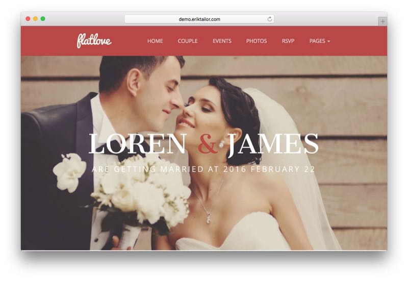 Flat Love WordPress One Page Wedding Theme