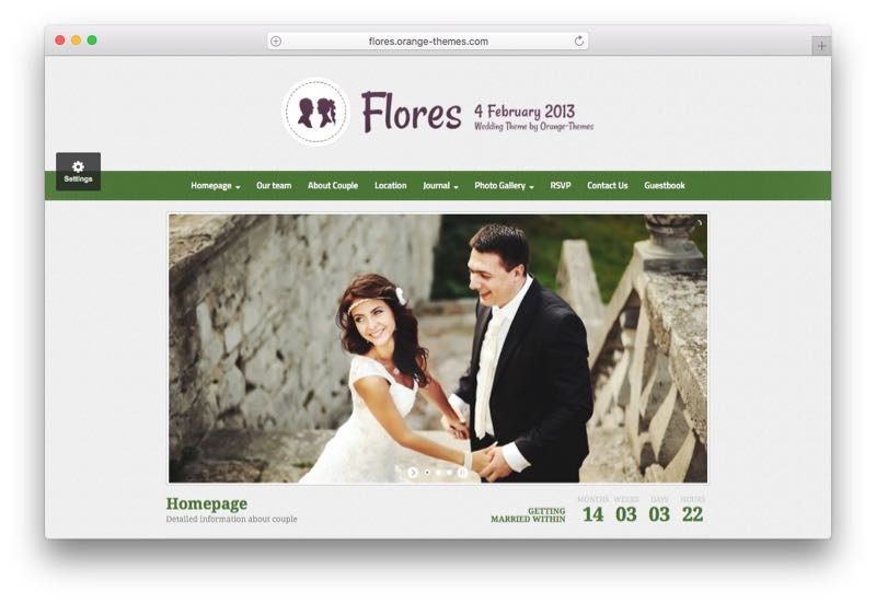 Flores WordPress Wedding Marriage Couples Theme