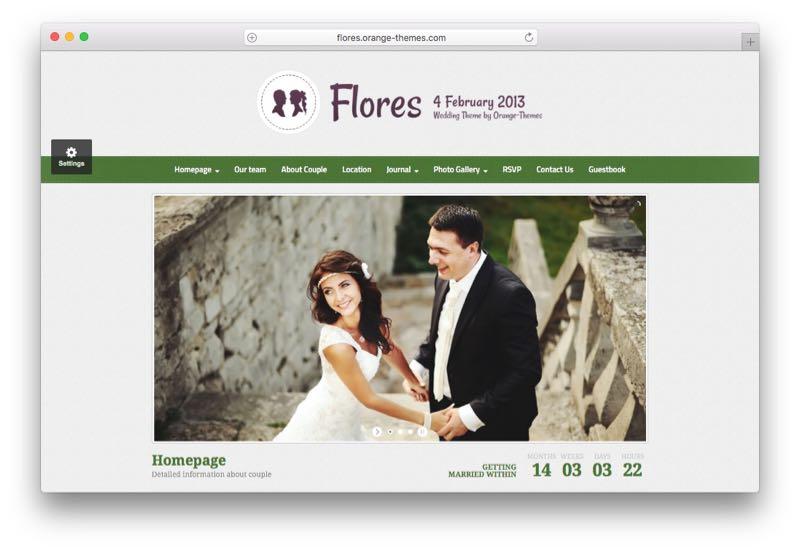 Flores WordPress Wedding Marriage Couples Theme