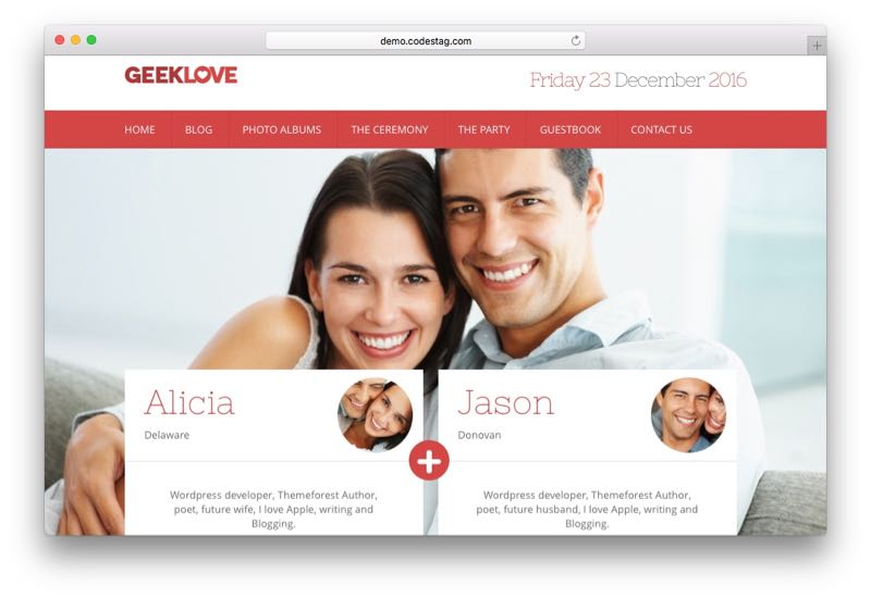 GeekLove WordPress Theme for Bride & Bridegroom