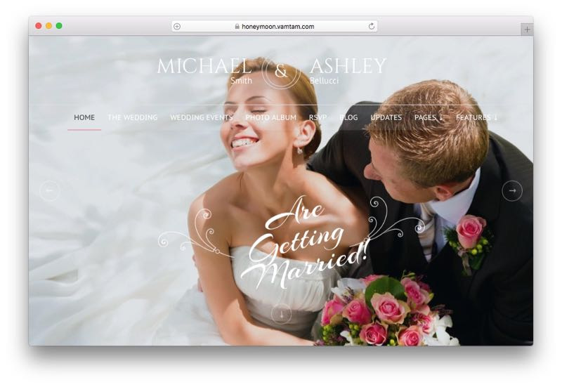 Honeymoon & Wedding WordPress Wedding Planner Theme