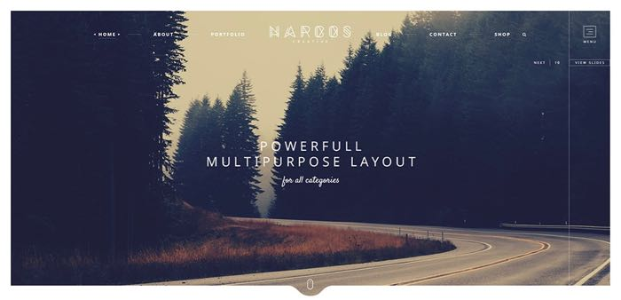 Narcos WordPress Theme - Homepage Default
